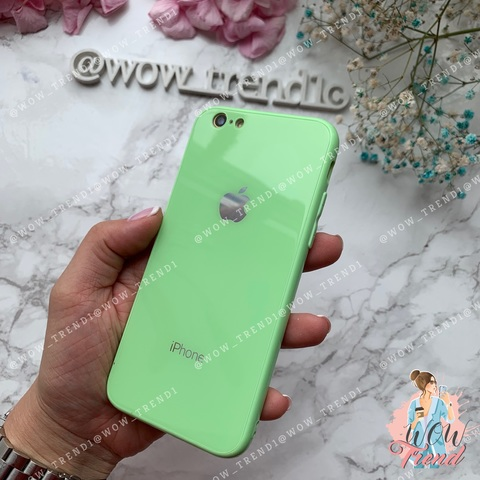 Чехол iPhone 6/6S Glass Full color Case Logo /green/