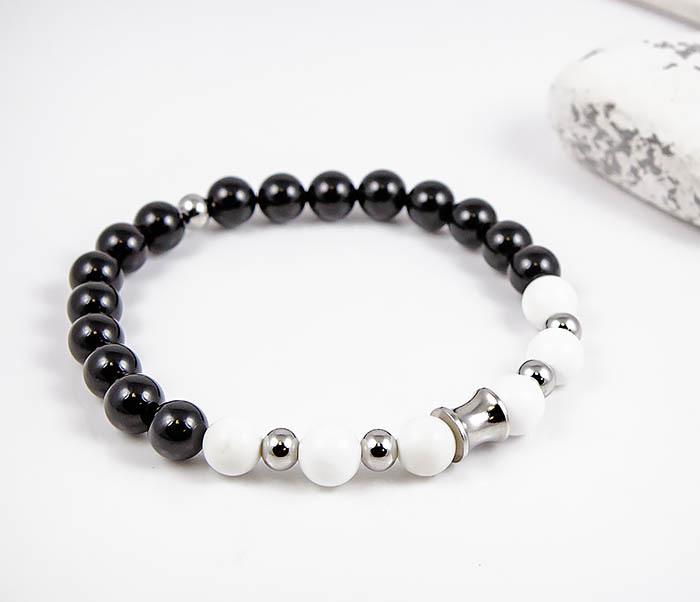 Boroda Design, Мужской браслет из черного и белого агата