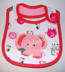 Нагрудник на липучке (Розовый слоник ID-57)
