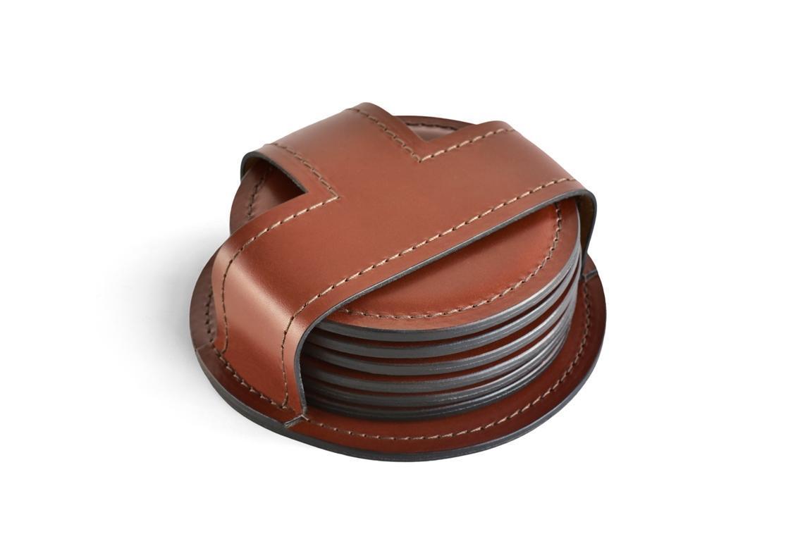Набор костеров (6 шт) BUVARDO LUX из кожи Full Grain Toscana Tan