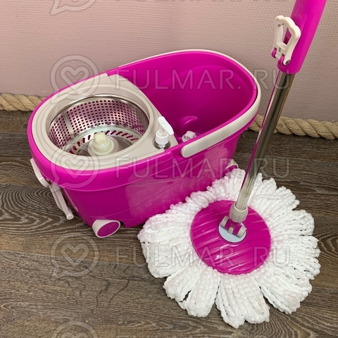 Швабра и ведро с отжимом на 4 колесиках с ручкой Spin Mop Wheels Mini Розовое