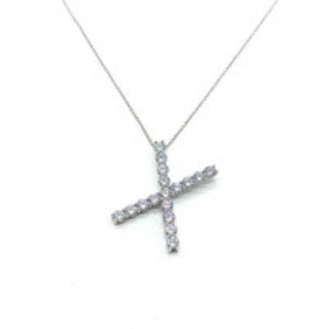 Подвеска-буква X из серебра с ослепительными цирконами