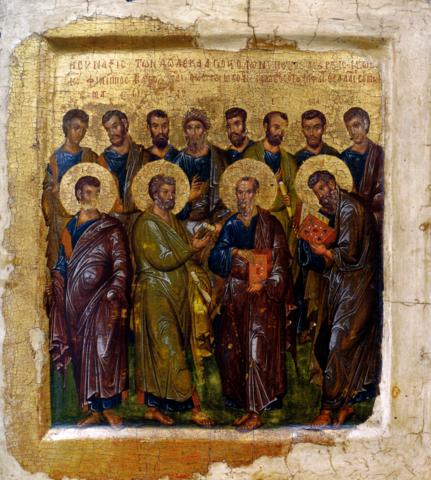 Икона Двенадцать Апостолов на левкасе на дереве мастерская Иконный Дом
