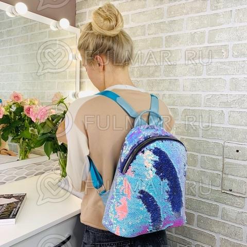 Большой рюкзак в двусторонних пайетках для девочки (цвет: Голубой хамелеон-Фиолетовый)