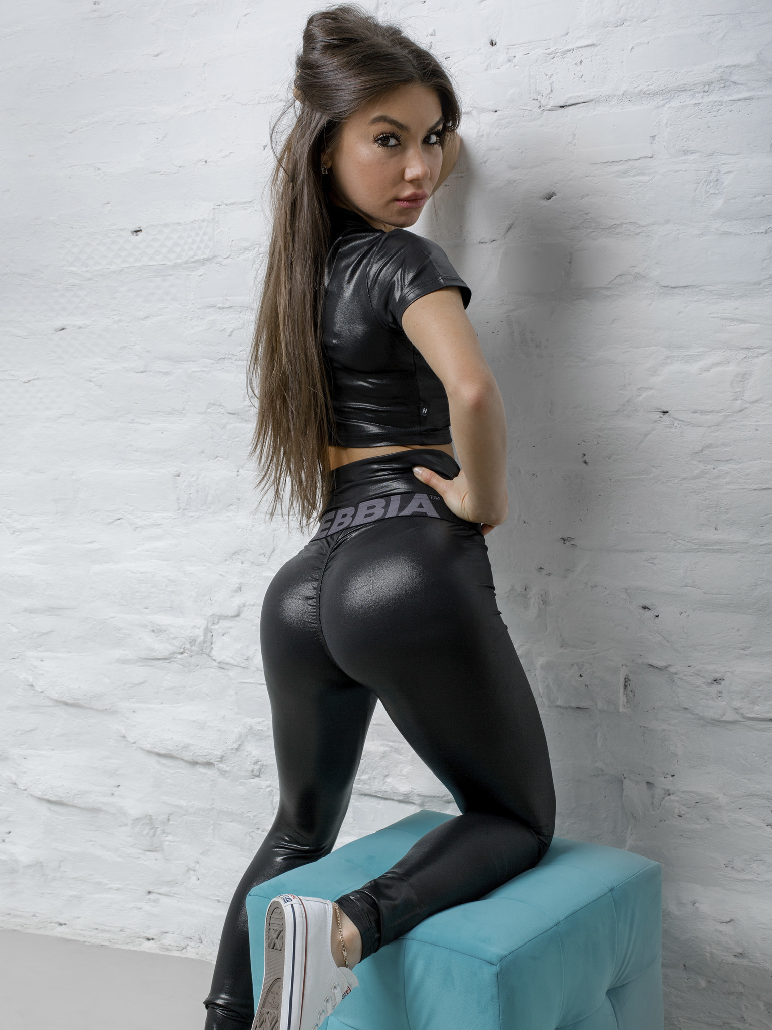 "Женские лосины Nebbia High waist ""Sandra D"" glossy leggings 656 black"