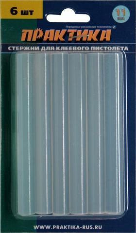 Клей для клеевого пистолета ПРАКТИКА белый, прозрачный, 11 х 100 мм, 6шт / блистер (641-589)