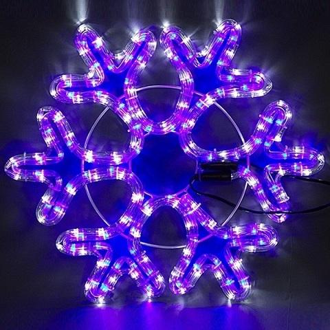 Снежинка светодиодная d-50 см. Бело-синяя с контроллером