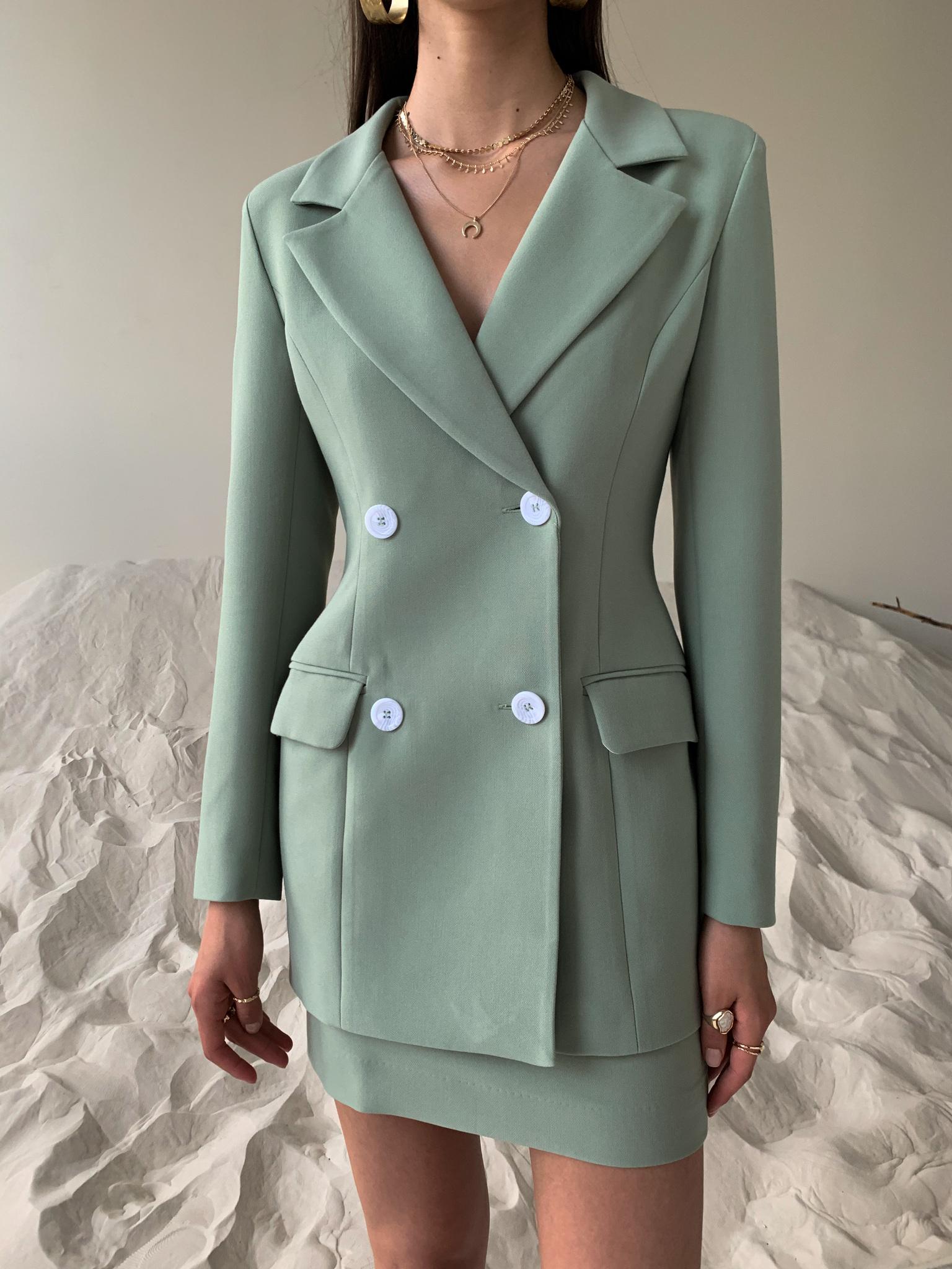 Пиджак приталенный (оливковый)