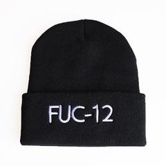 Вязаная шапка с отворотом и вышивкой Билли Айлиш, FUC-12 (Billie Eilish) черная