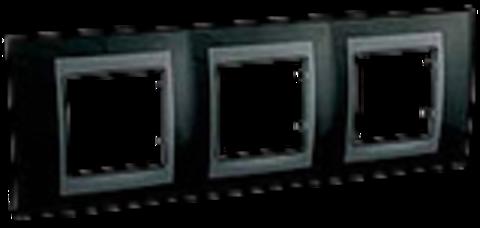 Рамка на 3 поста. Цвет Родий-графит. Schneider electric Unica Top. MGU66.006.293