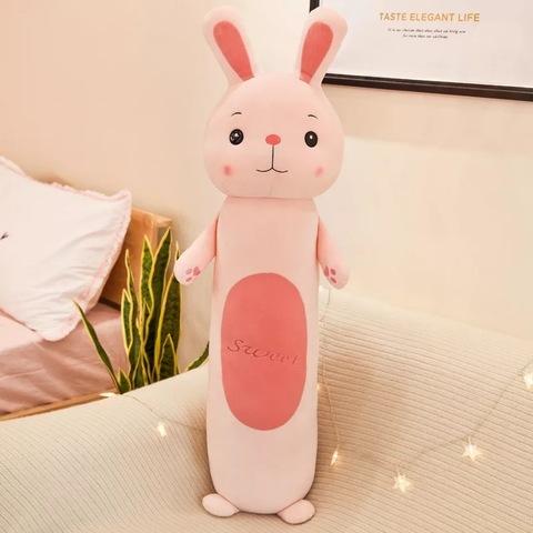 Подушка заяц розовый с лапками 70 см