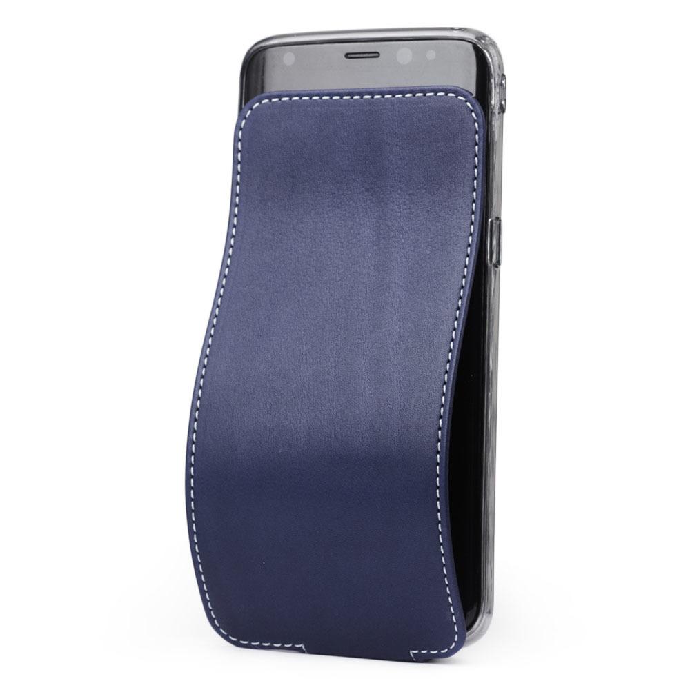 Чехол для Samsung Galaxy S8 Plus из натуральной кожи теленка, синего цвета