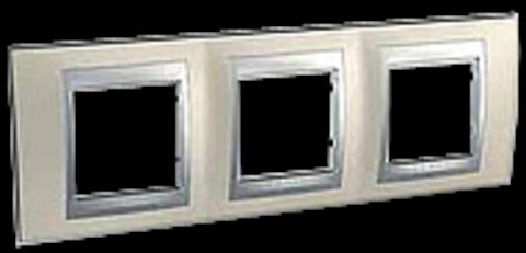 Рамка на 3 поста. Цвет Опал-алюминий. Schneider electric Unica Top. MGU66.006.095