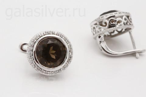 Серьги с раухтопазом и фианитом из серебра 925