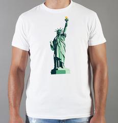 Футболка с принтом США, Статуя Свободы (USA/ Statue of Liberty ) белая 0011