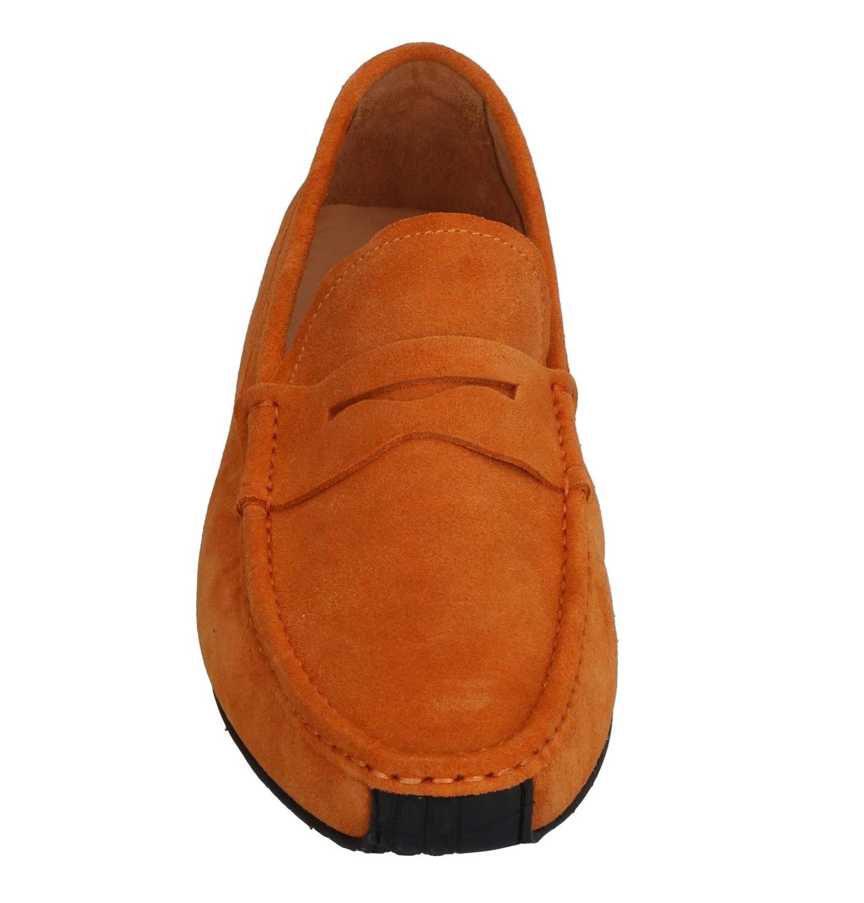 Оранжевые замшевые мокасины на каучуковой подошве Luciano Padovan Made in Italy