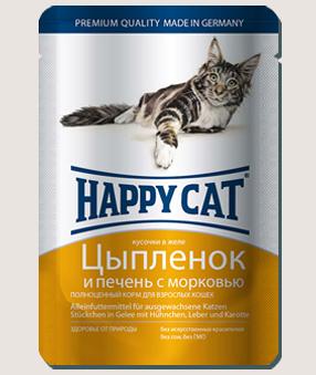 Влажные корма Пауч для кошек Happy Cat цыпленок, печень и морковь в желе 2Q__-12.jpg