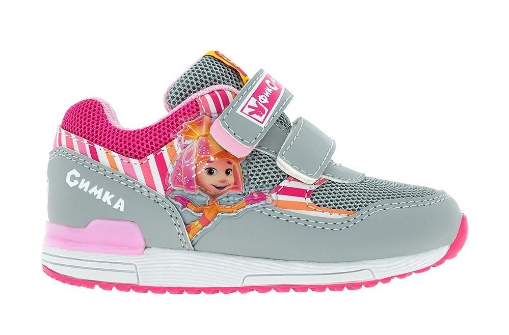 Кроссовки для девочек на липучках Фиксики, цвет серый