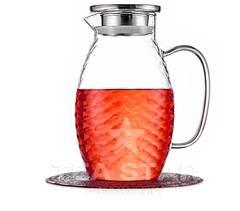 Кувшин для воды с крышкой 1,5 литра, стеклянный для холодных и горячих напитков