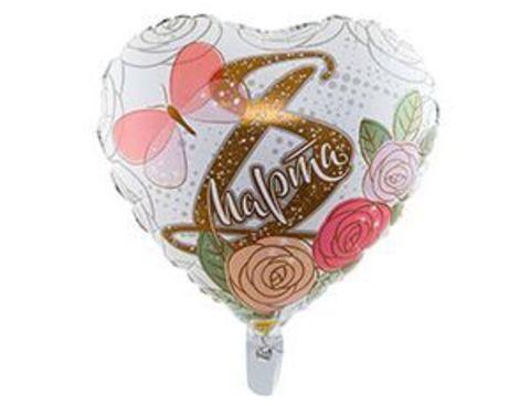 Фольгированный шар 8 марта Розы