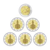 Германия 2015 год 2 евро Гессен набор 5 дворов A D F G J   UNC из ролла, Федеральные земли Германии