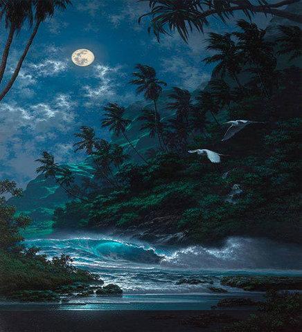 Картина раскраска по номерам 30x40 Пляж ночью (арт.TCR3132)