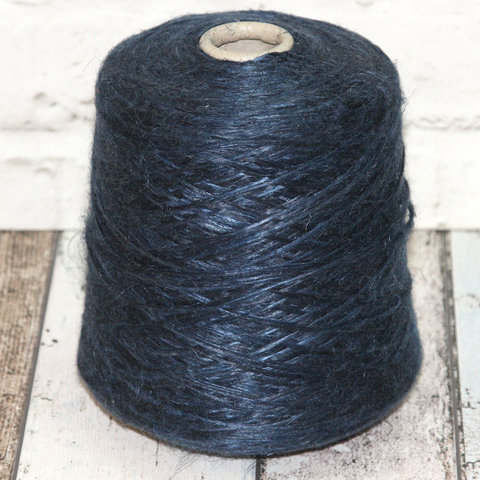 Косматый лен с вискозой ILARIA / KIM 300 темно-синий