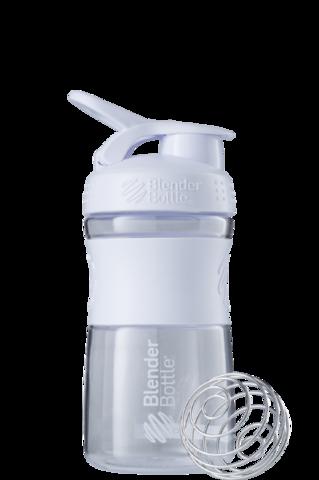 BlenderBottle SportMixer, Универсальная Спортивная бутылка-шейкер с венчиком.  Clear-White-белый 591 мл