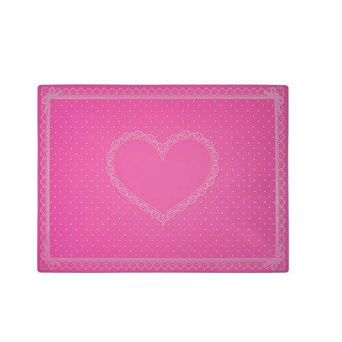 Коврик для маникюра силиконовый, розовый в горошек