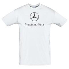 Футболка с принтом Мерседес Бенц (Mercedes-Benz) белая