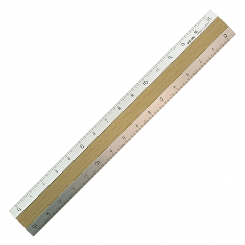 Линейка Midori Aluminum & Wood 15 см (алюминий + светлый шпон)