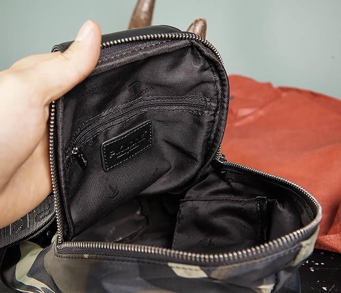 BAG489-3 Тканевая мужская сумка «банан» с одной лямкой фото 09