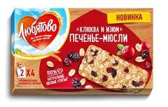 """Печенье мюсли злаковое """"Любятово"""" Клюква изюм 120гр"""