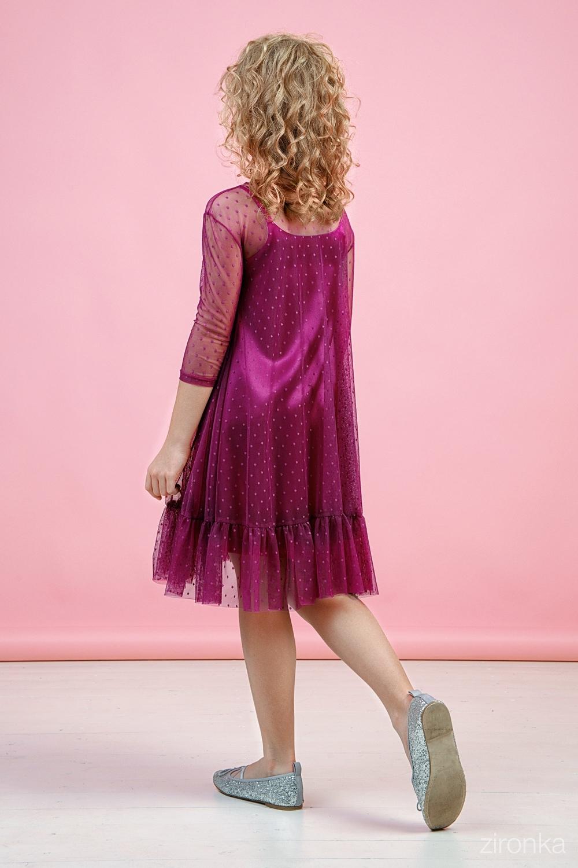 Платье ягодное для девочки 38-9007-4