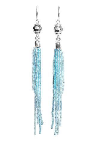 Серьги-каскад бисерные голубые