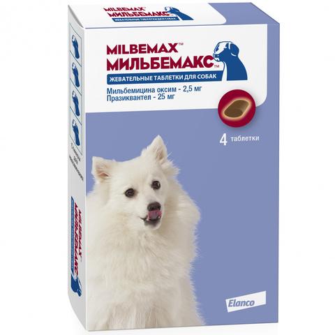Мильбемакс 2,5/25мг жевательные таблетки для маленьких собак и щенков (4шт)