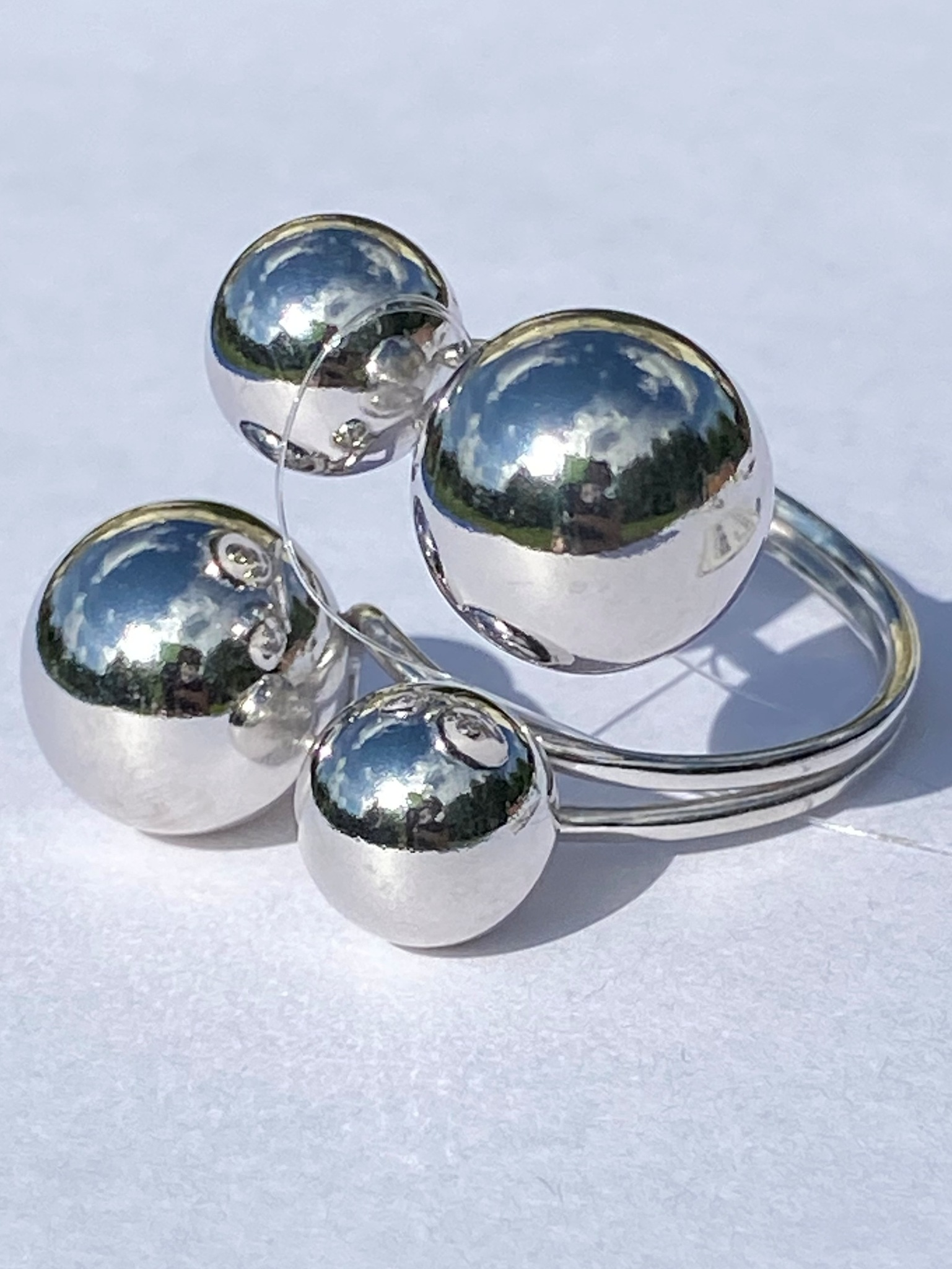 Шары 2+2 (кольцо из серебра)