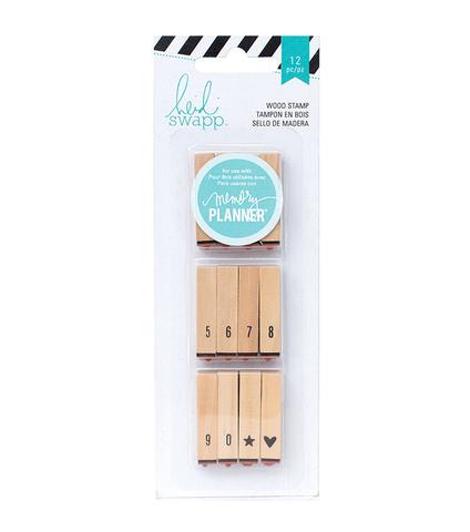 Штамп на деревянной оснастке Heidi Swapp Hello Beautiful Wood Mounted Stamps Calendar Numbers