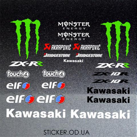 Набор виниловых наклеек на мотоцикл KAWASAKI ZX-10R, ZX-RR, набор логотипов.,23 шт.