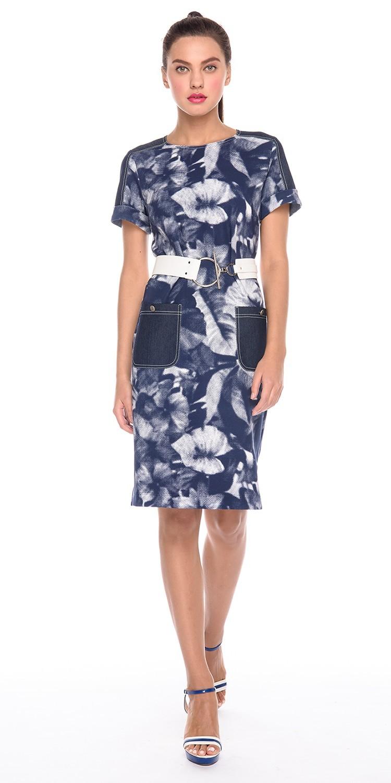 Платье З166-453 - Платье прямого силуэта с втачными рукавами и накладными карманами. Отделка из однотонной джинсы и контрастные отстрочки. При желании линию талии можно будет подчеркнуть пояском. Пояс с фото в комплект не входит