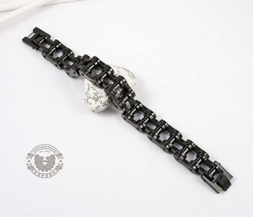 BM123 Стильный стальной браслет «Цепь» черного цвета (22 см) фото 02