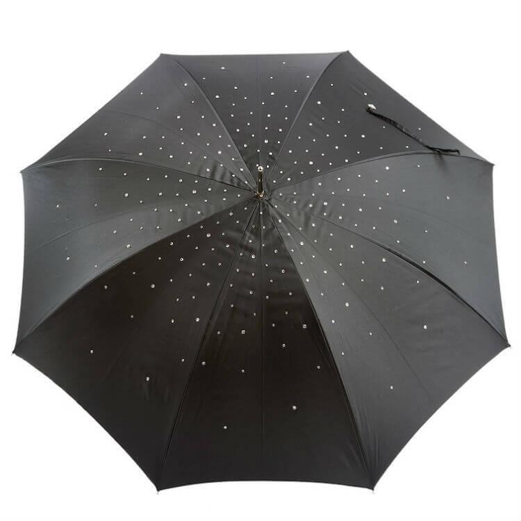 Зонт-трость Pasotti 185-34S8 BLACK SWAROVSKI