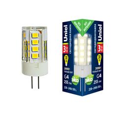 LED-JC-220/3W/3000K/G4/CL GLZ09TR Лампа светодиодная, прозрачная. Теплый белый свет (3000К). Картон. ТМ Uniel.