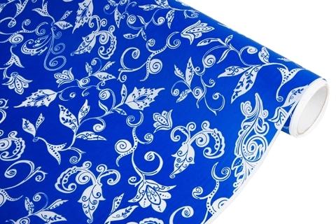 Бумага белая крафт 40гр/м2, 70см x 10м, Сказочная гжель, цвет:синий