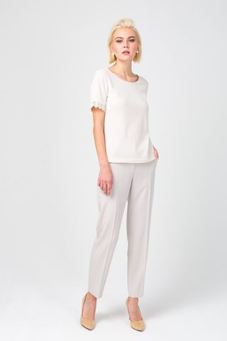 Фото элегантные белые брюки зауженного силуэта - Брюки А477-792 (1)