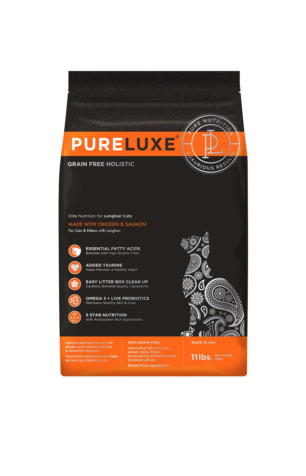купить PureLuxe Elite Nutrition for longhair cats with chicken & salmon сухой корм для кошек с длинной шерстью c курицей и лососем