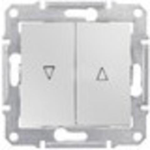 Выключатель для жалюзи с механической блокировкой 10А. Цвет алюминий. Schneider Electric Sedna. SDN1300360