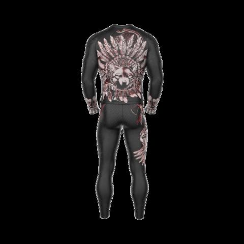 купить рашгард мужской apachi черный с длинным рукавом для фитнеса единоборств занятий спортом