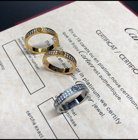 Кольцо Cartier Love с цирконами