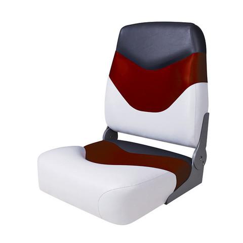 Сиденье мягкое складное Premium High Back Boat Seat, бело-красное